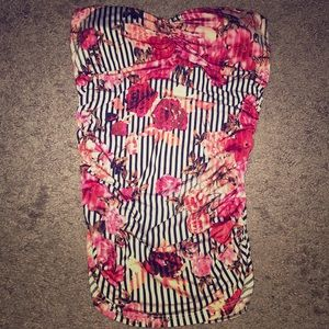 Tops - Striped/floral tube top strapless